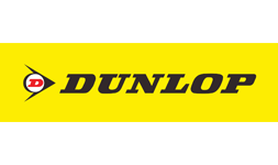 The logo for Dunlop Tyres with a yellow background
